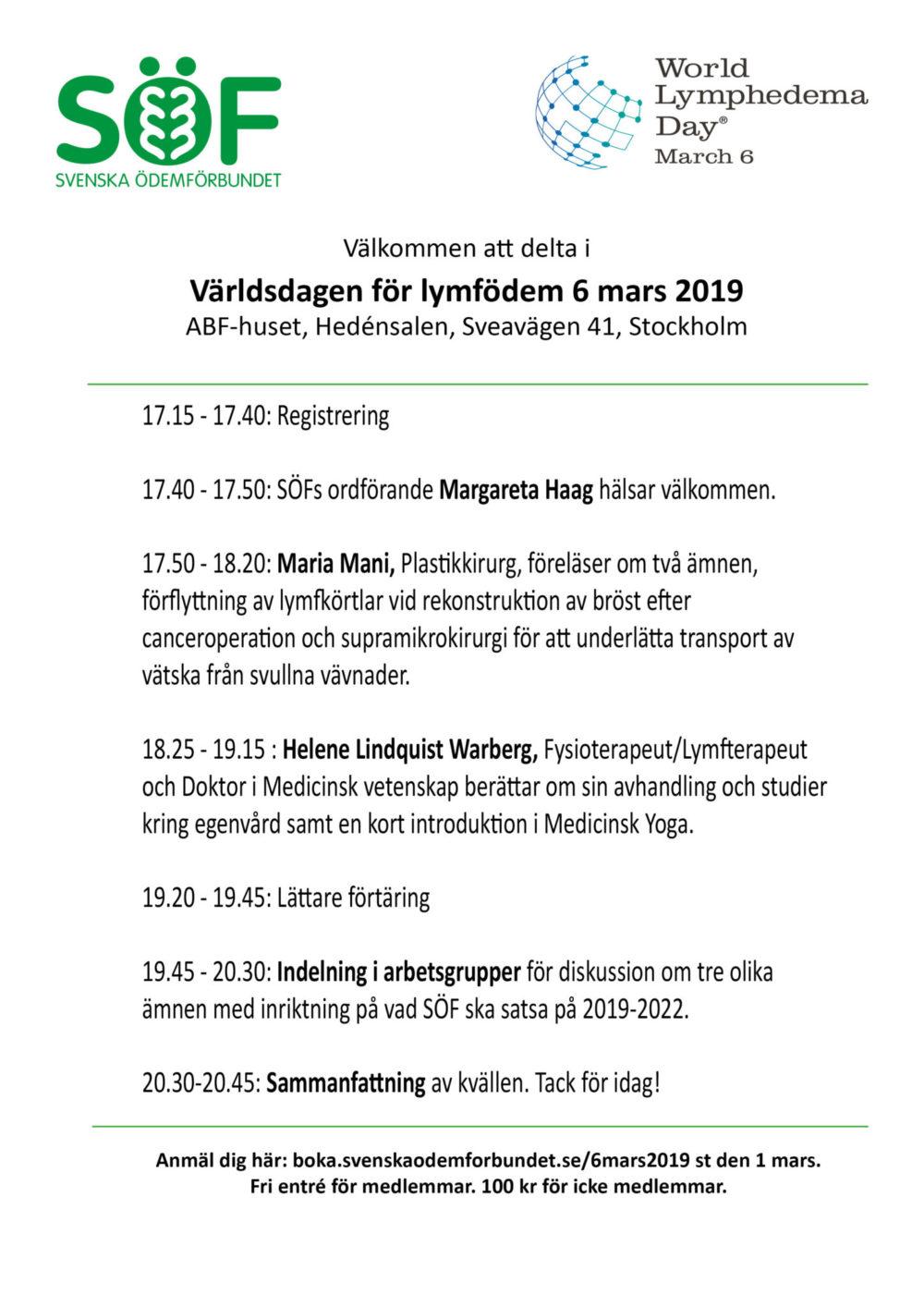 Världsdagen för lymfödem 6 mars @ ABF huset, Hedénsalen, 4 tr